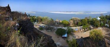 Mingun. Panorama from the top of Mingun Paya Royalty Free Stock Photography