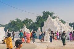 MINGUN-Myanmar, January 20, 2019 : Unidentified tourists make merit, pay homage to blessings at Mya Thein Tan Pagoda on january 20. 2019 in Mingun, Myanmar royalty free stock photos