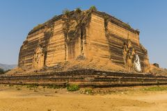 Mingun Pahtodawgyi. Ruined and unfinished Mingun Pahtodawgyi pagoda in Mingun could have been the largest stupa in the world. Western bank of Irrawaddy river Royalty Free Stock Photo