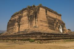 Mingun Pahtodawgyi. Ruined and unfinished Mingun Pahtodawgyi pagoda in Mingun could have been the largest stupa in the world. Western bank of Irrawaddy river Stock Images