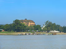 Mingun Pahtodawgyi seen across the river, Mandalay, Myanmar Stock Photos