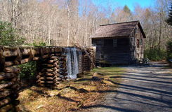Mingus Mill. Located just outside of Cherokee, North Carolina, the construction of Mingus Mill was completed in 1886.  It was one of the most advanced mills in Stock Photography