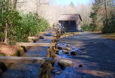Mingus Mill. Located just outside of Cherokee, North Carolina, the construction of Mingus Mill was completed in 1886.  It was one of the most advanced mills in Stock Image