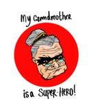 Minha avó é um super-herói! Tirando em um t-shirt, para produtos impressos ilustração stock