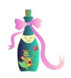 Minha criança interna Ilustração alegórica dos desenhos animados bonitos com o dragão pequeno alegre na garrafa Imagem de Stock