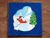Minha imagem de uma casa ideal do inverno em uma noite nevado imagem de stock royalty free