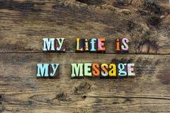 Minha mudança da mensagem da vida que significa a tipografia do amor fotos de stock royalty free