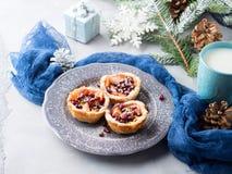 Mini- äppelpajer för jul med granatäpplefrö Fotografering för Bildbyråer