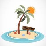 Mini- ö och kokospalm - Royaltyfri Bild
