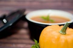 Mini abóboras e sopa Fotografia de Stock