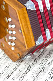 Mini Accordian on Sheet Music Royalty Free Stock Photo