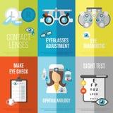 Mini- affischuppsättning för ögonläkare royaltyfri illustrationer