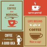 Mini- affischuppsättning för kaffe vektor illustrationer