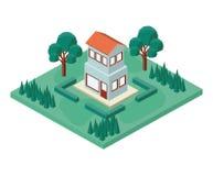 Mini albero e casa isometrici Fotografia Stock