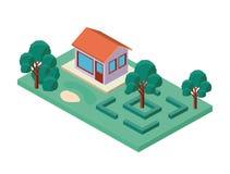 Mini albero e casa isometrici Fotografie Stock