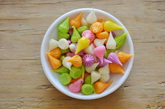 Mini allure  colorful Thai candy on cup Stock Photo