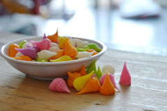 Mini allure colorful Thai candy on cup Stock Image
