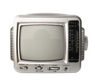 Mini analog television with transistor radio isolated clipping p Royalty Free Stock Image
