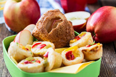 Mini apple cinnamon strudel and mini quiche Stock Image
