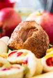 Mini apple cinnamon strudel and mini quiche Stock Photos