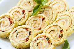 Mini apéritifs de roulis de spirale de sandwich Images stock