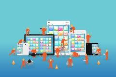 Mini- arbetare som arbetar på en smartphone och en minnestavla stock illustrationer