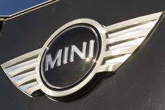 Mini automotive marque logo in front of dealership building on March 31, 2017 in Prague, Czech republic. PRAGUE, CZECH REPUBLIC - MARCH 31: Mini automotive Royalty Free Stock Image