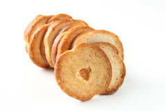 Mini baked bread chips snacks Stock Photo