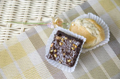 Mini bakery put on basket Royalty Free Stock Photo
