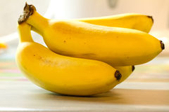 Mini bananas. A bunch of ripe yellow mini bananas Stock Photos