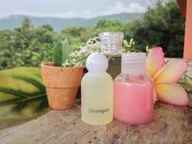Mini banho de espuma e chuveiro do grupo decorados no fundo natural e na flor Imagens de Stock Royalty Free