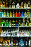 Mini bar bottles collection in the alcohol shop Stock Photo