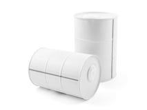 Mini barril decorativo del metal blanco aislado en blanco Imagen de archivo libre de regalías