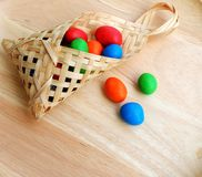 Mini basket with candy Royalty Free Stock Photography
