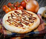 Mini Bbq del pollo de la pizza Imagen de archivo libre de regalías