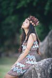 Mini beautiful portrait native american concept Royalty Free Stock Images