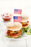 Mini beef burger with American flag Royalty Free Stock Image