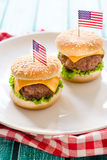 Mini beef burgers Stock Image