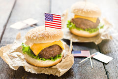 Mini beef burgers Stock Photo