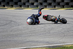 Mini Bike Championship Action Crash Stock Image