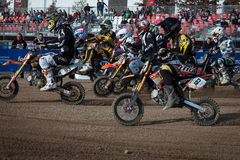 Mini bike race at EICMA 2013 in Milan, Italy Royalty Free Stock Photography