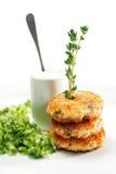 Mini bistecca di color salmone con il cetriolo fresco Fotografie Stock