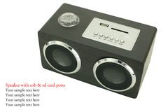 Mini black speaker with usp and sd card ports Royalty Free Stock Photography