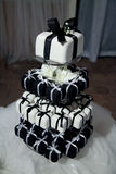 Mini Black and White Wedding Cakes and Ribbons Royalty Free Stock Photos