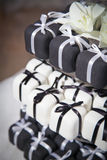 Mini Black and White Wedding Cakes and Ribbons Royalty Free Stock Images