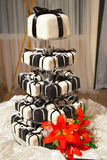 Mini Black and White Wedding Cakes and Ribbons Stock Photography