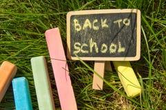 Mini blackboard pisać Z powrotem szkoła i kolorowa kreda na zielonej trawy tle obraz royalty free