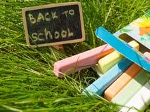 Mini blackboard pisać Z powrotem szkoła i kolorowa kreda na zielonej trawy tle zdjęcia stock