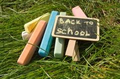 Mini blackboard pisać Z powrotem szkoła i kolorowa kreda na zielonej trawy tle obrazy stock