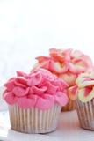 Mini bloem cupcakes Royalty-vrije Stock Foto